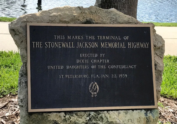 Stonewall Jackson plaque formerly displayed in St. Petersburg, Florida