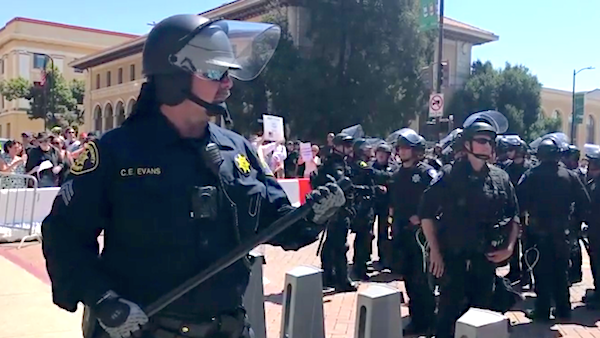 Berkeley riot police prepare for antifa in August.