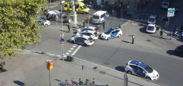 A van plowed into pedestrians in Barcelona's tourist center