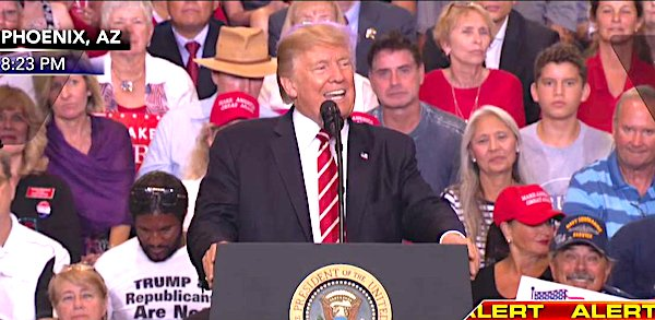 President Trump at a rally in Phoenix, Arizona, Aug. 22, 2017 (Video screenshot)