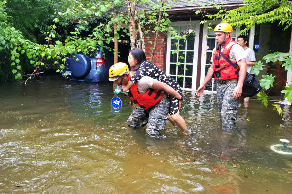 Houston resident rescued in aftermath of Hurricane Harvey (National Guard photo)