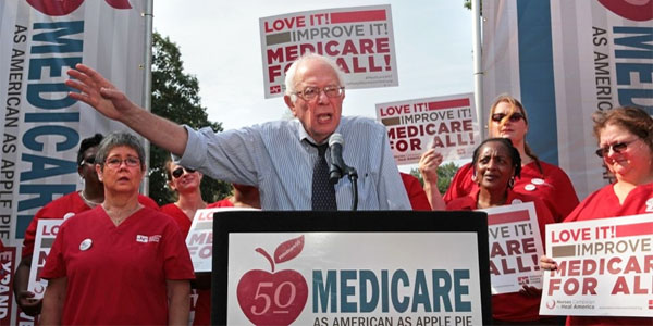 Democrat senators are lining up to support 'Medicare for All' legislation sponsored by Sen. Bernie Sanders, I-Vt. (Photo: Twitter/National Nurses United)
