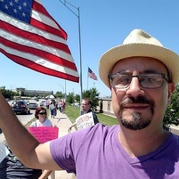 Dr. Glenn Hurst of Council Bluffs, Iowa, is a Democrat who organized people against speakers Chris Gaubatz and John Guandolo Thursday, Sept. 14, 2017, accusing them of being 'racist' and 'anti-Muslim bigots'