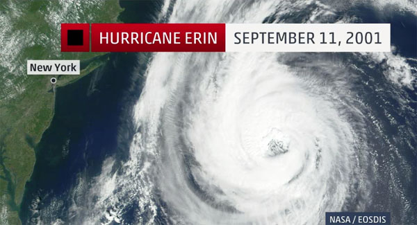 Satellite image of Hurricane Erin off the coast of New York on Sept. 11, 2001