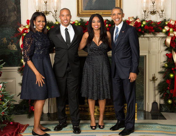 Jamele Hill at the White House with the Obamas (Photo: Twitter)