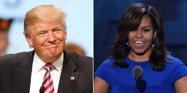 President Donald Trump and former first lady Michelle Obama