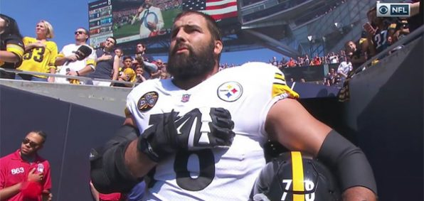 Former U.S. Army Ranger officer Alejandro Villanueva, player for the Pittsburgh Steelers, refused to sit out the national anthem with his team on Sept. 24 (Photo: NFL screenshot posted to Twitter)