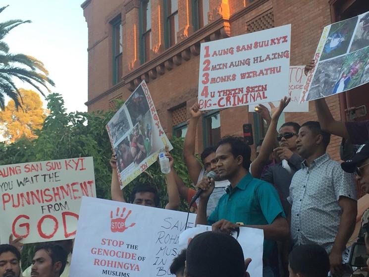Rohingya Muslim refugees demonstrate in Phoenix, Arizona.