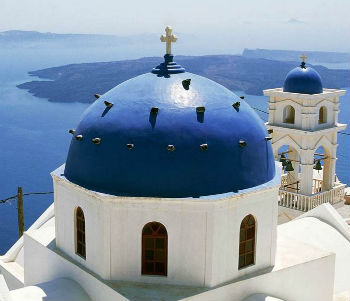 Church of Anastasis on Greek island of Santorini.