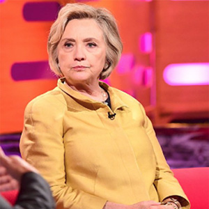 Hillary Clinton wears a special boot Oct. 16 in this photo tweeted by the Graham Norton Show