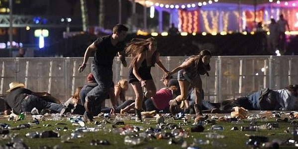 Concertgoers in Las Vegas Sunday night during a shooting in which more than 50 people were killed.