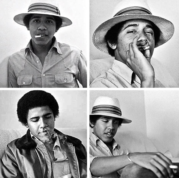 A younger Barack Obama smokes marijuana