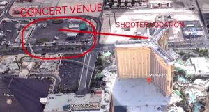 Graphic shows the location of Stephen Paddock in the 32nd floor of the Mandalay Bay Resort in Las Vegas as he fired a hailstorm of bullets into a crowd attending a nearby music festival on Oct. 1, 2017 (Photo: Screenshot)