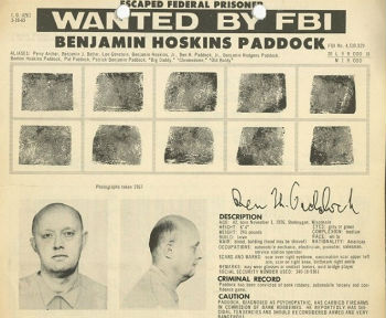Wanted poster for Benjamin Paddock, the late father of the suspect in the Las Vegas shooting, Stephen Paddock.