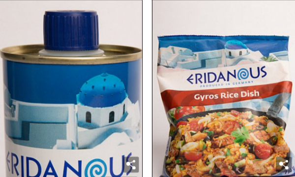 The Lidl grocery chain's Eridanous brand of Greek products features the Anastasis church without its cross.