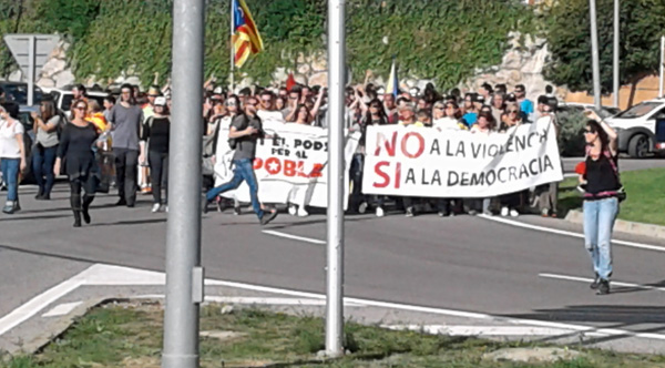 Street protests in rural Catalonia by leftist marchers