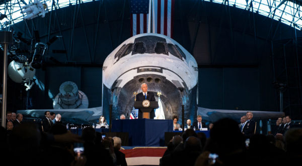 Vice President Mike Pence chairs the National Space Council at the Smithsonian National Air and Space Museum's Steven F. Udvar-Hazy Center in Chantilly, Virginia, Oct, 5, 2017