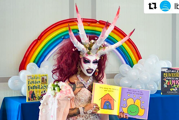 「picture of drag queen demon at michelle obama library」の画像検索結果
