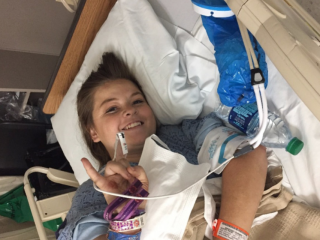 Paige Gasper recovering at her hospital room in Las Vegas. Photo/GoFundMe