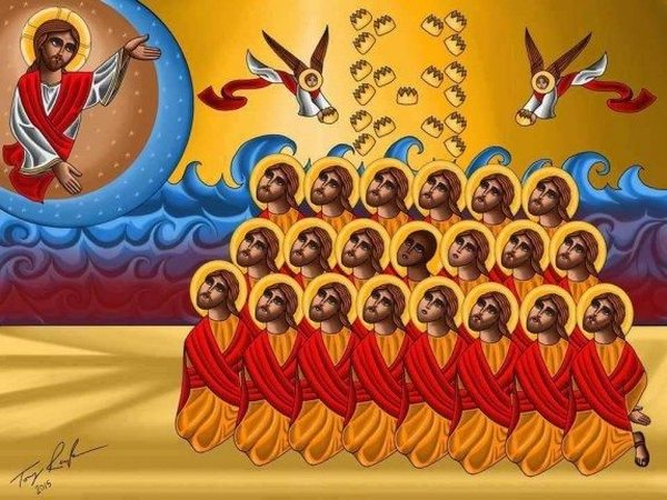 Digitally made icon in honor of the 21 Libyan/Egyptian Martyrs by Tony Rezk, from website of the Coptic Orthodox Diocese of Los Angeles, 2015
