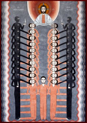 Icon Holy Martyrs of Libya, 100×70 cm, water colors on paper, 2015 by Serbian-German artist, Nikola Sarić
