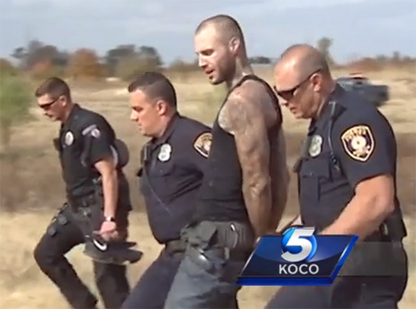 Suspect Brenton Hager, who led police on a high-speed chase, is arrested Nov. 10. He said he was 'just having fun' (Photo: screenshot/KOCO TV-5)