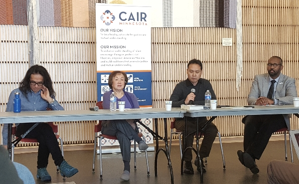 Japanese-American Internment camp symposium speakers Saturday, Nov. 18, 2017, were, from left, John Matsunaga, Sally Sudo, Professor Yuichiro Onishi and CAIR Minnesota Director Jaylani Hussein.