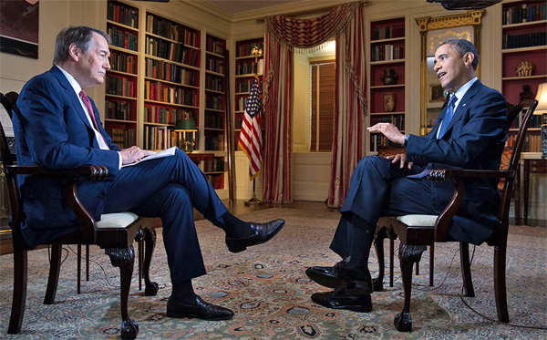 Charlie Rose interviews then-President Barack Obama on June 16, 2013 (Photo: Obama White House/Pete Souza)