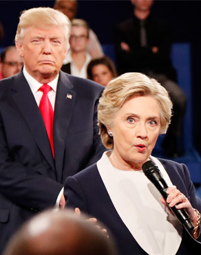 Donald Trump and Hillary Clinton debate during 2016 campaigns for White House