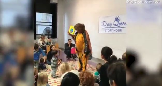 Drag Queen story hour in Britain. (Image from video)