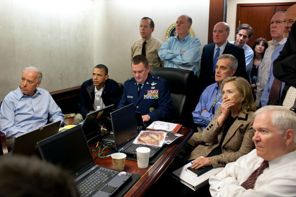 The U.S. national security team gathered in the White House Situation Room to monitor the progress of Operation Neptune Spear (White House photo, Pete Souza).