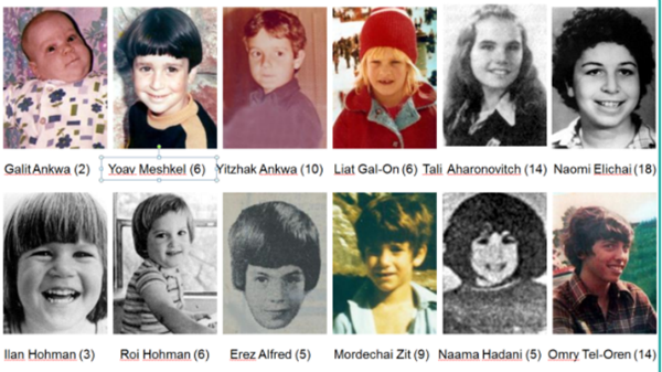 The 12 children murdered in the 1978 Coastal Road attack in Israel.