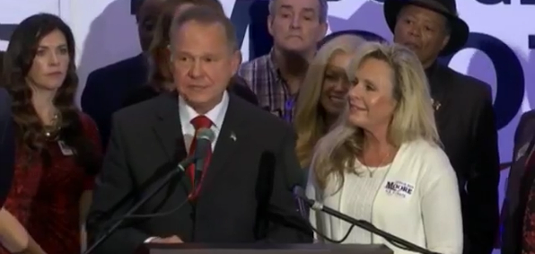 Roy Moore at a news conference in Birmingham, Alabama, with is wife, Kayla Moore, right, Nov.16, 2017.