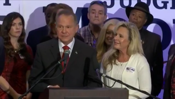 Roy Moore at a news conference in Birmingham, Alabama, with his wife, Kayla Moore, right, Nov. 16, 2017.