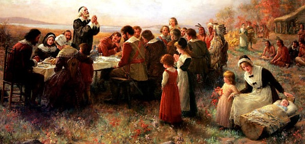 "Detail of the 1914 Jennie Brownscombe painting ""The First Thanksgiving at Plymouth."""