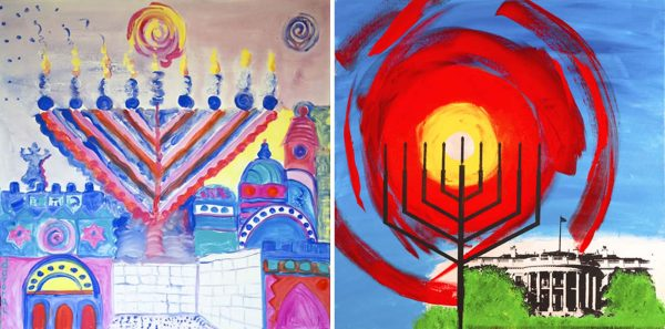 "(Left) ""Chanukah Shel Jerusalem"" (Our Jerusalem of Gold) by Davora Lilian. Acrylic / (Right) ""National Menorah"" by Yitzchok Moully. Acrylic and ink on canvas."