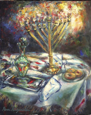 """Chanukah"" painting by Rosa Katzenelson. Acrylic and canvas. Can be purchased as limited giclee print."
