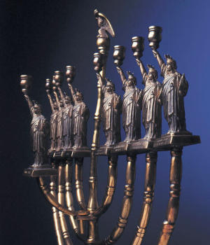 """Statue of Liberty Hanukkah Lamp"" by Manfred Anson. 1986, bronze. Collection of the National Museum of American History."