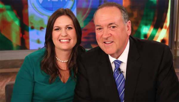 White House Press Secretary Sarah Huckabee Sanders with her father, Mike Huckabee, former U.S. presidential candidate and governor of Arkansas (Photo: Twitter)