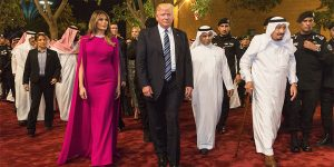 President Donald Trump and first lady Melania Trump arrive to the Murabba Palace, escorted by King Salman bin Abdulaziz Al Saud of Saudi Arabia May 20, 2017, in Riyadh, Saudi Arabia, to attend a banquet in their honor (Official White House photo by Shealah Craighead)