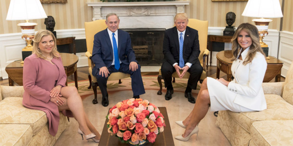 President Donald Trump and first lady Melania Trump meet with Israeli Prime Minister Benjamin Netanyahu, and his wife, Mrs. Sara Netanyahu, on Feb. 15, 2017, in the Oval Office (Official White House photo by Shealah Craighead)