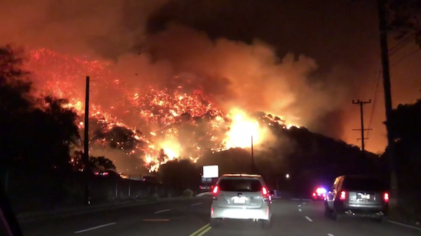 Fire burning in Sepulveda Pass