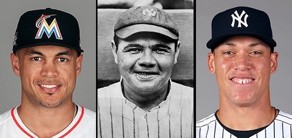 Giancarlo Stanton, Babe Ruth and Aaron Judge