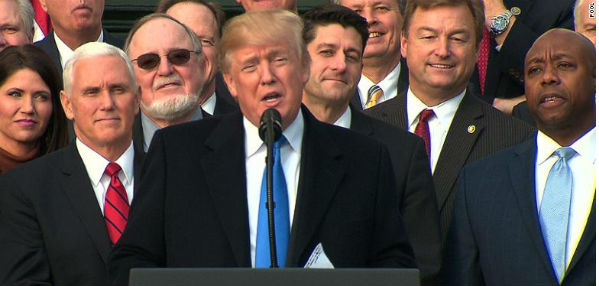 President Trump and Republican leaders celebrate passage of his tax-reform bill at the White House Dec. 20, 2017.