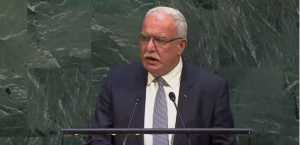 Palestinian Authority Foreign Minister Riyad al-Malki addresses the U.N .General Assembly Dec. 21, 2017.