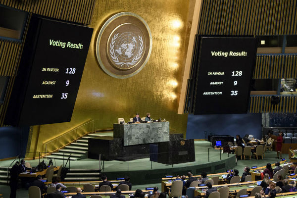 The U.N. General Assembly votes Dec. 21, 2017, to condemn U.S. recognition of Jerusalem as Israel's capital. (U.N. photo)
