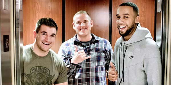 U.S. Army National Guard Spc. Alek Skarlatos right U.S. Air Force Staff Sgt. Spencer Stone middle and California State University student Anthony Sadler right subdued an Islamic terrorist in 2015 and now star in the film'The 15:17 to Paris