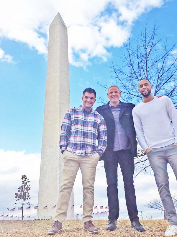 U.S. Army National Guard Spc. Alek Skarlatos, left, U.S. Air Force Staff Sgt. Spencer Stone, middle, and California State University student Anthony Sadler, right (Photo: Facebook)
