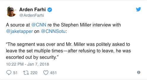 Trump advisor refuses to leave CNN set