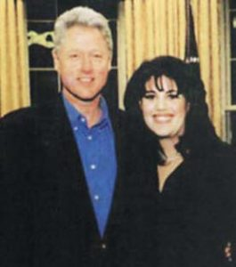 Former President Bill Clinton with White House intern Monica Lewinsky in the Oval Office